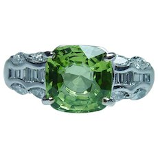 Cushion Peridot Marquise Baguette Diamond 18K White Gold Ring