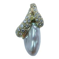 Henry Dunay Diamond 18K Gold Baroque Pearl Pendant Estate