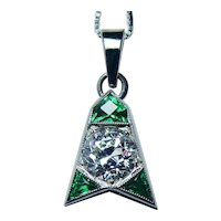 ART DECO .70ct Old European Diamond French Emerald 14K White Gold Pendant 1920s