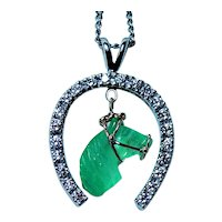 Carved Emerald Horse 14K White Gold Horseshoe Diamond Pendant