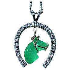 Vintage 14K White Gold Carved Emerald Horse Horseshoe Diamond Pendant Estate