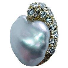 Vintage Diamond 18K Gold Baroque Pearl Pendant Estate VS-F