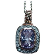 Vintage Cushion Kunzite Diamond Pendant Enhancer 14K Rose Gold Estate