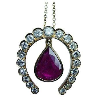 Vintage 2.5ct Natural Ruby 18K Gold Diamond Horseshoe Pendant Estate