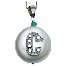 Vintage 14K White Gold Diamond Emerald Initial C  Genuine Cultured Pearl Pendant