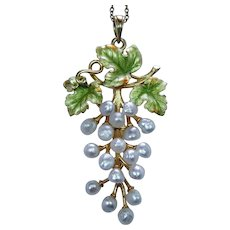 Krementz Art Nouveau Pearl Enamel Pendant Grapes Leaf 14K Gold Estate about 2""