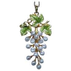 """Krementz Art Nouveau Pearl Enamel Pendant Grapes Leaf 14K Gold Estate about 2"""""""