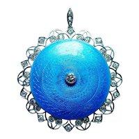 Antique 18K Gold Platinum European Diamond Guilloché Enamel Locket Pendant