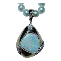 Giant Diamond Opal Pendant 14K Gold Enhancer GIA Appraisal