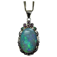 MASSIVE Black Opal Diamond Ruby 18K Gold Pendant Heavy Estate