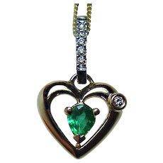 Vintage 18K Gold Platinum Emerald Diamond Dainty Heart Pendant Estate