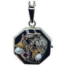 Art Nouveau Ruby Diamond Berry Branch Locket Pendant 14K Gold