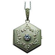 French Art Nouveau 18K Gold Old European Diamond Star of David Locket Pendant