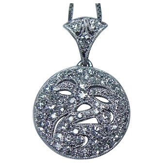Platinum  Diamond Round Pendant Moon Face  Estate
