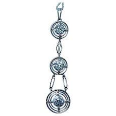 Art Deco Platinum Old European Diamond 3 stone Pendant Estate 1.45ct VS-G