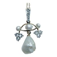 Edwardian Rose Cut Diamond 14K Gold Genuine  Pearl Pendant