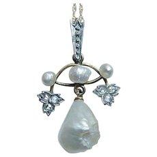 Edwardian Rose Cut Diamond 14K Gold Genuine  Pearl Pendant