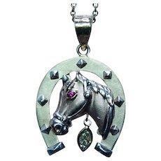 Large Vintage 14K Pink Gold Emerald Horse Horseshoe Diamond Pendant Estate