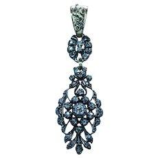 Victorian Old Mine Cushion Rose Diamond Pendant 18K Gold Long