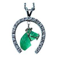 Vintage Carved Emerald Horse 14K White Gold Horseshoe Diamond Pendant