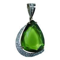 Giant 14.5ct Peridot Diamond 18K Gold Platinum Pendant Designer