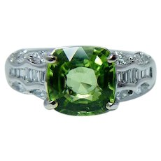 Vintage 18K White Gold Cushion Peridot Marquise Baguette Diamond Ring Estate