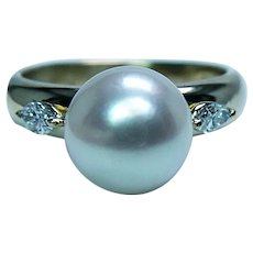 Vintage Akoya South Sea Pearl Marquise Diamond 18K Gold Ring Estate 3 stone