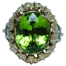 Peridot Diamond 18K Gold Ring Heavy