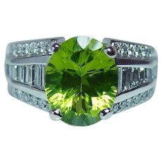 Peridot Baguette Diamond Ring 14K White Gold Heavy Estate 5.10ct