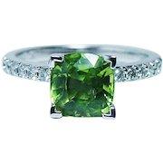 Vintage 14K White Gold Cushion Peridot Diamond Ring  Estate