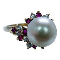 Kurt Wayne Diamond Ruby 9.7mm Pearl 18K Gold Ring Designer