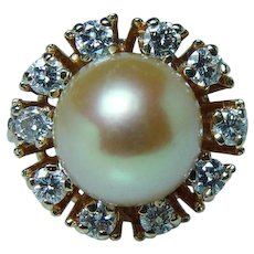9.25mm Golden Pearl Diamond 14K Halo Ring  Genuine Cultured