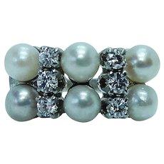 Vintage Pearl Diamond 14K White Gold Ring Estate