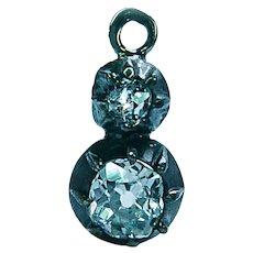 Imperial Russian Antique Old Mine Cushion Diamond Pendant 14K Gold 56 Zolotniks