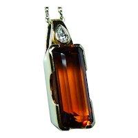 H Stern Madeira Citrine Diamond Pendant 18K Gold Designer