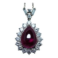 Giant Rubellite Tourmaline Finest Diamonds Pendant 18K Gold GIA Diamond