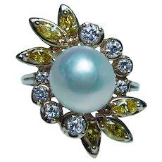 Canary Fancy Yellow Marquise Diamond 9.7mm Akoya Pearl Ring Heavy