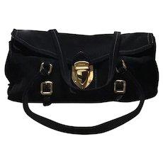 PRADA Handbag Black Suede Shoulder Bag Italy Excellent