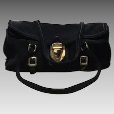 PRADA Handbag Black Suede Shoulder Bag Italy Excellent