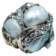 Giant Vintage Diamond Genuine Baroque Pearl 14K Gold Ring Heavy 30.3gr