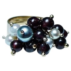 Vintage 18K Gold Dangling Garnet Pearl Ring Heavy Dangle