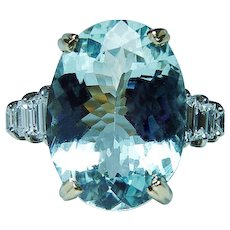 H Stern Platinum 18K Gold Aquamarine Diamond Ring 6.7ct Vintage Designer