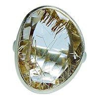 Rutilated Quartz Diamond Ring 14K Gold Designer