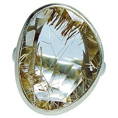 Rutilated Quartz Diamond Ring 14K Gold Designer
