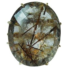 Giant 37ct Rutilated Quartz Diamond 18K Gold Ring Heavy