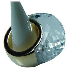 Giant 18K Gold Quartz Ring Heavy Modernist Size 6.25-6.5