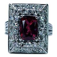 Vintage Cushion Rhodolite Garnet Diamond Platinum Halo Ring Huge Heavy Estate
