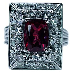 Vintage Cushion Rhodolite Garnet Diamond Platinum Halo Ring Huge Heavy Estate
