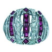 Vintage Princess Burmese Ruby Diamond 18K White Gold Ring Band Estate