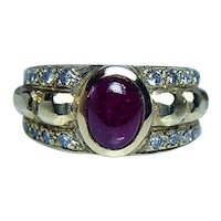 Vintage Ruby Diamond Ring 18K Yellow Gold Heavy 18kt